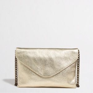J.Crew Gold Leather Envelope Clutch - NWT